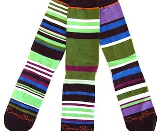 "Womens Knee High Socks, ""Fig & Olive Knee HIgh Socks"" Mismatched Stripe Sock, One size fits all"
