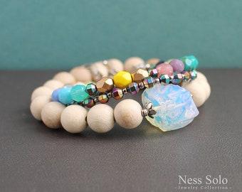 Boho bracelet set Raw moonstone jewelry Stackable bracelets Boho jewelry Boho beaded bracelet Bohemian jewelry Stacking bracelets Boho chic