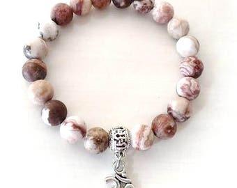 Yoga Om Ohm Natural Stone Beaded Stretch Bracelet