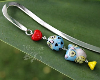 Momma & Baby Owl bookmark - 2 blue owls, red heart, yellow flower, silver bookmark - great gift -Free Shipping USA