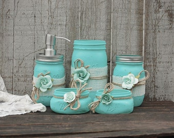 Mason Jar Bathroom Set, Aqua, Shabby Chic, Soap Dispenser, Bathroom Jars,