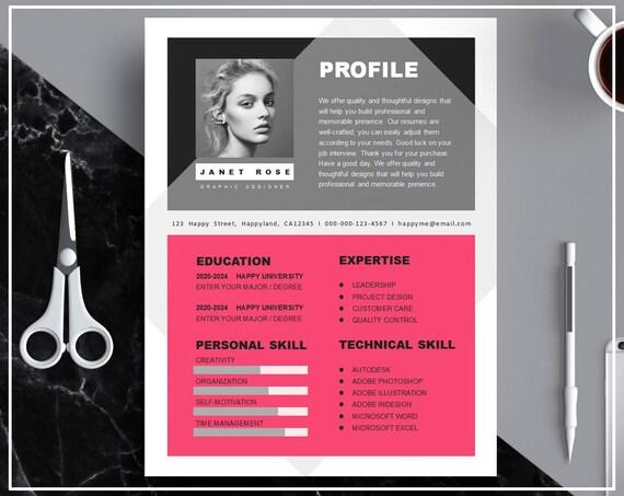 Heiße rosa Lebenslauf Vorlage / CV Vorlage / Hot Pink CV
