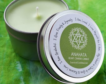 Heart Chakra Candle Anahata - Open Your Heart Center, Give & Receive More Love, Let Go of Regret, Increase Self Love - 4th Green Chakras