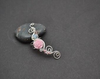 Flower earrings Wedding earrings Bohemian ear cuff Flower jewelry Ear cuff non pierced Pink earrings Beaded earrings Summer earrings