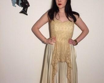 Vintage 40s 50s Satin Strapless Gown