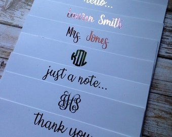 Personalized Foil Stationery - Set of 8 Notecards!