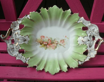 Antique Serving Bowl Numbered in Gold Ornately Textured Porcelain?