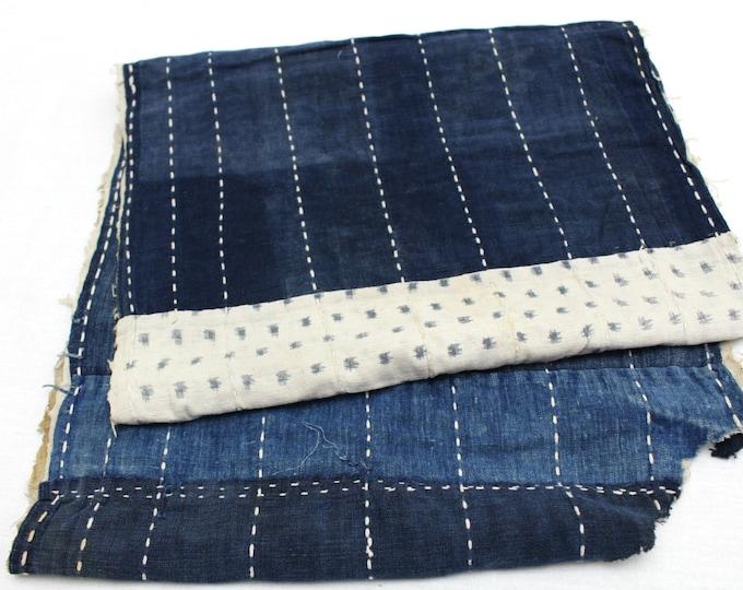 Japanese Antique Boro Textile. Indigo Ikat Kasuri Cotton with Sashiko (Ref: 132)