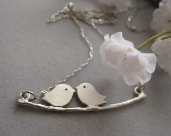 A Couple Birds in love, Silver Necklace