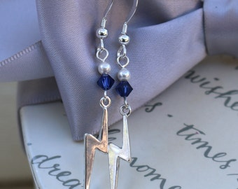Lightning Bolt earrings with Sterling Silver and Swarovski Elements crystals
