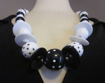 Ladybug, Ladybug, Fly Away Home - Vintage Black & White Necklace