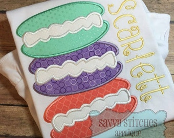 Macaroon Cookie Stack Machine Embroidery Applique Design