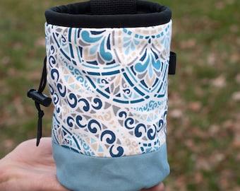Rock Climbing Chalk Bag   Blue Paisley Design   Gift For Climbers   Handmade Chalk Bag
