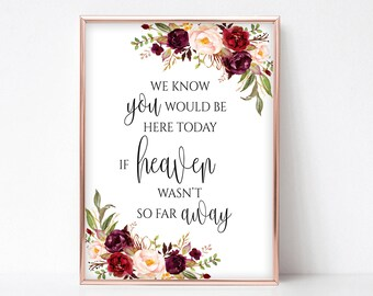 We Know you Would be Here Today if Heaven wasn't so Far Away Printable Memorial Table Sign Remembrance Poster Instant Download 4x6,5x7,8x10