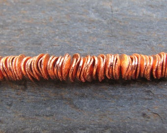 8mm Full Strand - Brushed Copper Wavy Disc Beads