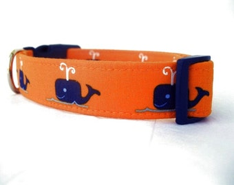 Nautical Dog Collar - Blue Whales on Orange