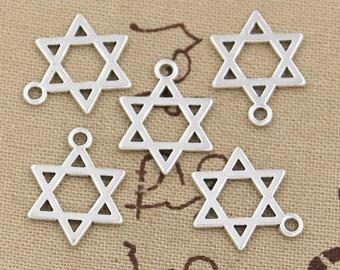 Star of David charms, Jewish star charms, 30 pcs, Tibetan silver charms, Metal charms, Silver Star of David charms, Cheap Jewish charms, A79
