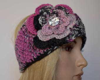 Flower Knit Head Wrap Headband Ear Warmer Winter Black Gray and Pink Variegated with Sparkle Button