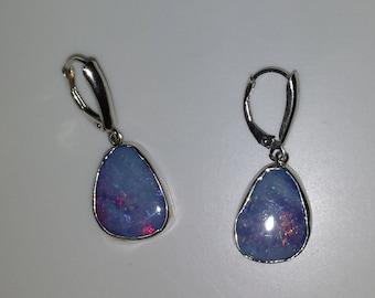 Boulder Opal Earrings in Sterling Silver FREE SHIPPING OOAK
