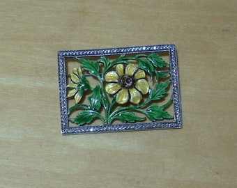 Sterling silver rectangle pin with yellow enamel flower and leaves