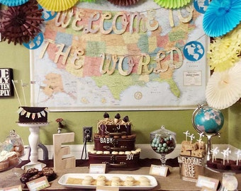Welcome To The World, Globes, Map Banner, Vintage Travel Theme, Map Theme, Banner, Photo Prop, Wedding Garland, Map Wedding,Custom Fonts