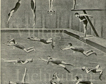 Antique print SWIMMING DIVING PRINT 1910 vintage illustration sport physical therapy 9.25x6.15 inches 24x16cm