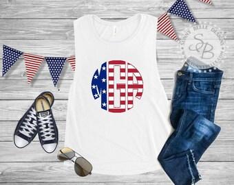 Flag Letter Monogram Shirt / Personalized Ladies 4th of July Shirt / Patriotic Ladies Shirt / Bella Canvas Muscle / Next Level Tank