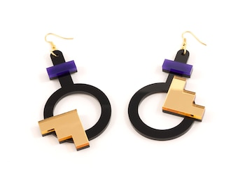 Geometric Perspex Statement Earrings - Purple, Gold FORM_003