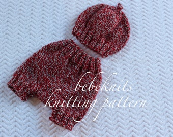 Bebeknits Knot Tied Baby Hat and Pants Set Knitting Pattern