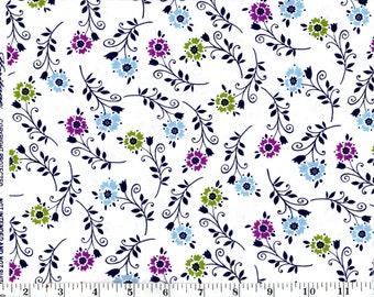 1 Yard, Tossed Flowers on White Cotton