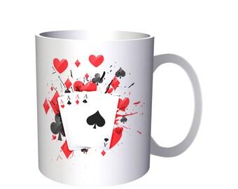 Casino Wave Poker Black Jack Cards Red Red Blood 11oz Mug m83