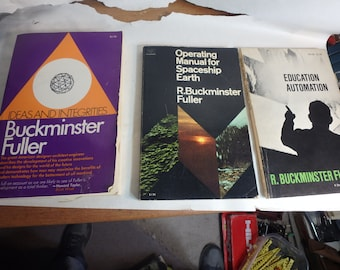 3 books by Buckminster Fuller- education automation,spaceship earth & ideas and integrities