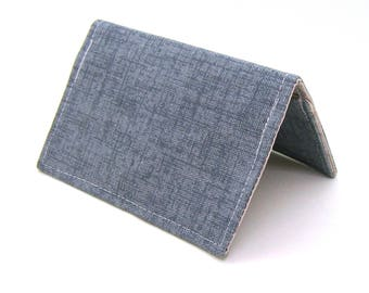 Mini Wallet / Card Holder / Business Card Holder / Card Case / Gift Card Holder/ Small Wallet - Vintage Blue Twill
