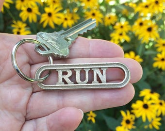 Gift for runners, RUN keychain, running gift, fitness gift, running accessory, running motivation, sports keychain, running jewelry