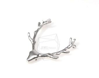 JS12167R/5Pcs-Large Deer Antler Pendant, Antler Pendant-Matte Rhodium Plated over brass