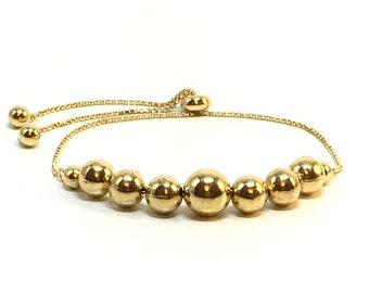 18k Gold Filled Adjustable Medium Spheres Bracelet