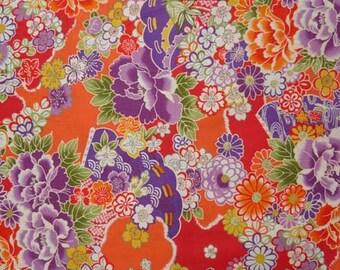 Fabric flower pattern collection Nagarebena orange background - 50cm