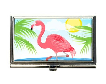 Flamingo And Palm Tree Beach Vacation Business Credit Card Holder Case