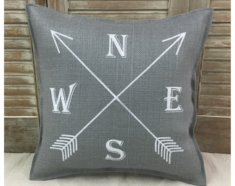 Grey burlap Decorative Pillow with a compass & arrows on the front COMPLETE pillow. Aztec arrow pillow,  arrow compass pillow, compass rose