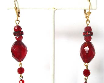 Pair of Vintage Red Crystal & Brass Earrings