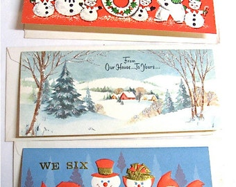 Vintage Holiday Greeting Cards with Envelopes c1950