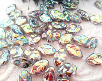 x 6 beads 12 mm silver vitrail Czech glass leaf.