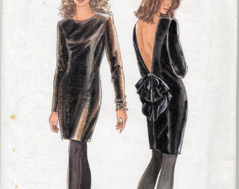 Vintage Evening Dress With Big Bow on the Back -  Simplicity Sewing Pattern No. 7495 - Size 8-20 - UNCUT