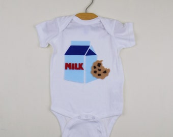 trendy baby clothing, baby gift ideas, hipster baby clothes, milk and cookies, funny, coming home outfit, handmade, bodysuit, food, bodysuit