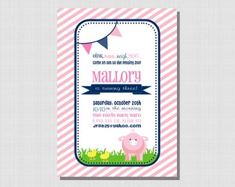 Pink Pig Party Collection: Printable Invitation