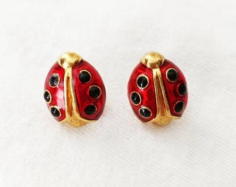 Vintage Ladybug Earrings Studs by Avon // Insect Bug Jewelry // Metallic Red Gold & Black