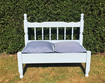 Upcycled garden bench, handmade and hand painted hallway bench, recycled wooden bench, solid wood patio seat,