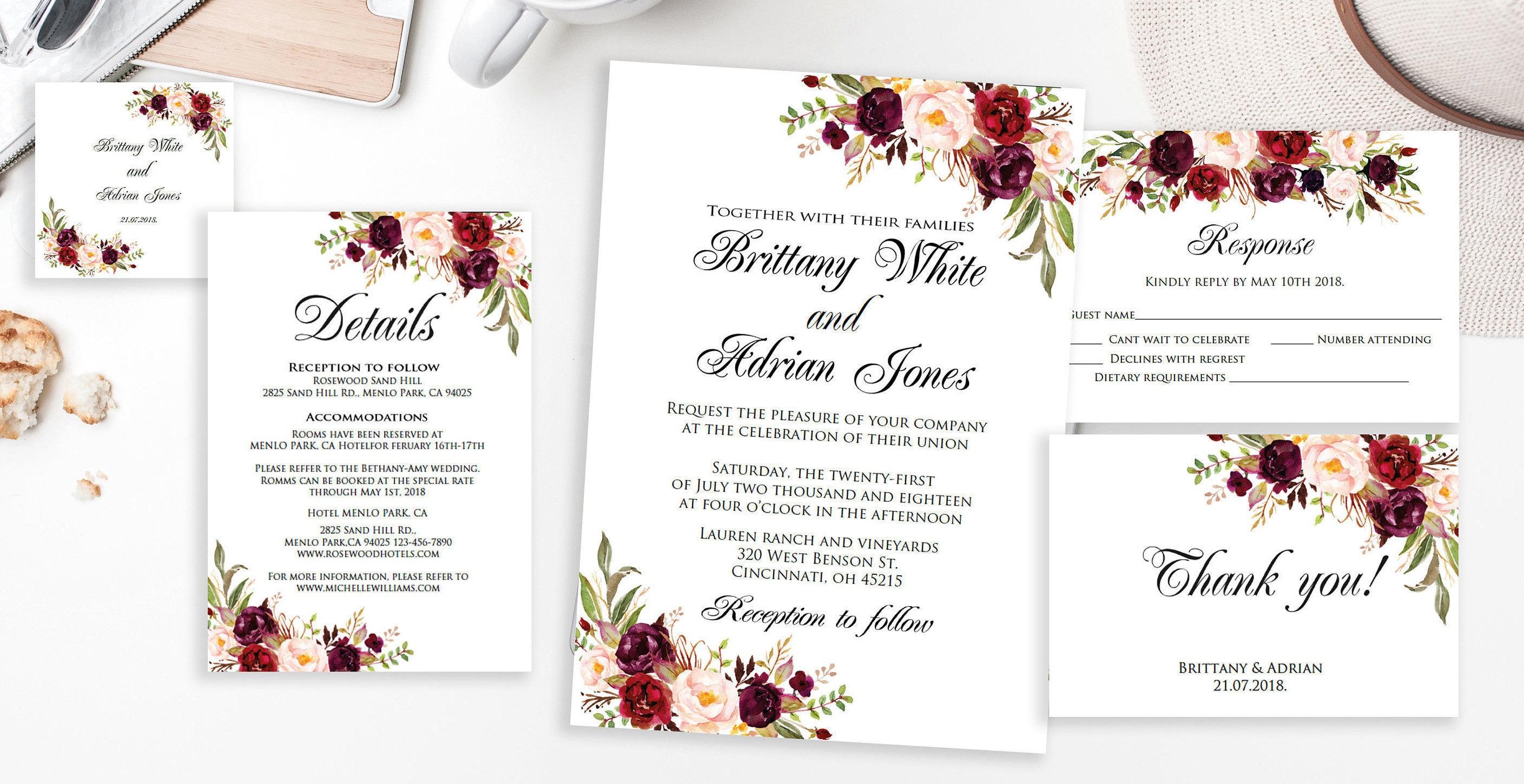 Wedding Invitation Template Marsala Wedding Invitation