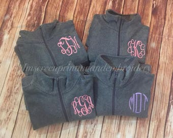 Monogrammed Quarter Zip* Monogram Pullover * Monogram Fleece* Personalized Gift* Gifts for Her* Girlfriend Gift* Bridesmaid Gift* Monogram