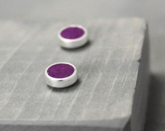 Sugilite Earrings, Purple Earrings, Purple Studs, Stud Earrings Sugilite,  Silver Sugilite Earrings, Silver Earrings, Pewter Earrings